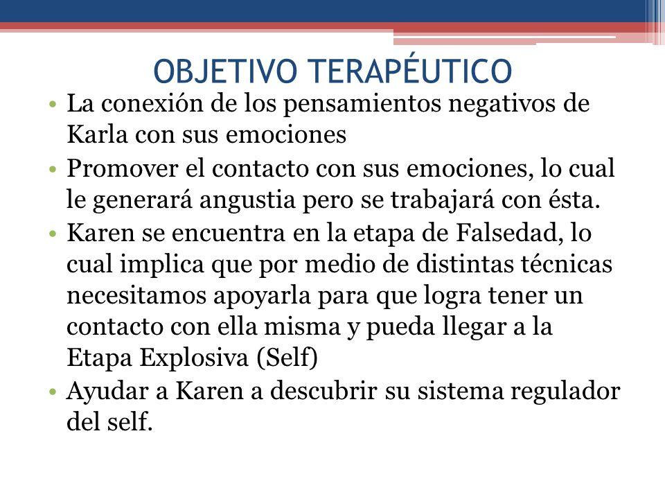 OBJETIVO TERAPÉUTICO La conexión de los pensamientos negativos de Karla con sus emociones.