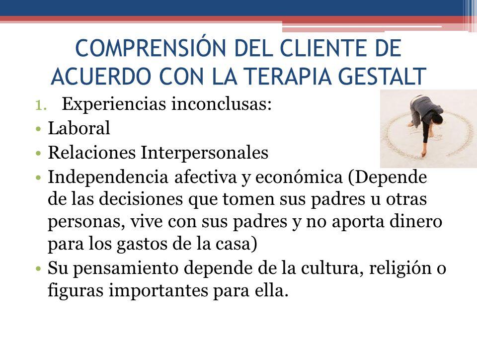 COMPRENSIÓN DEL CLIENTE DE ACUERDO CON LA TERAPIA GESTALT