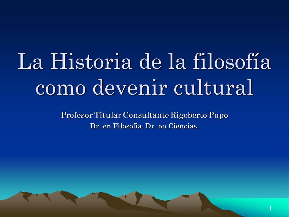 La Historia de la filosofía como devenir cultural