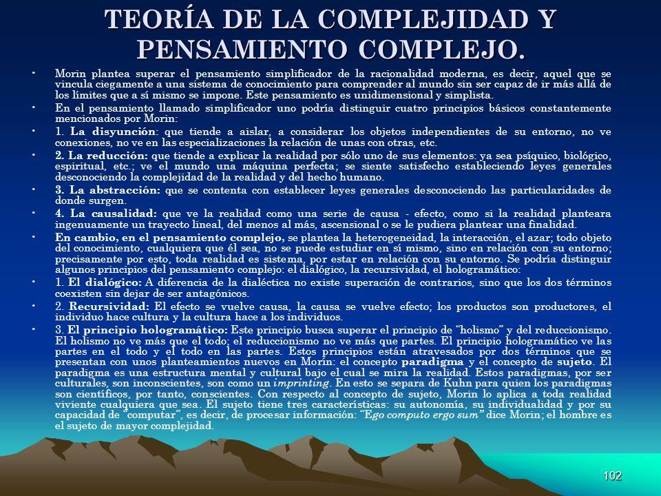 TEORÍA DE LA COMPLEJIDAD Y PENSAMIENTO COMPLEJO.