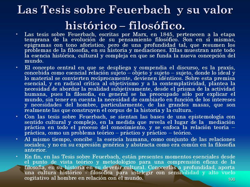 Las Tesis sobre Feuerbach y su valor histórico – filosófico.