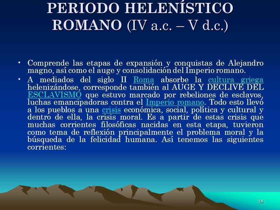 PERIODO HELENÍSTICO ROMANO (IV a.c. – V d.c.)