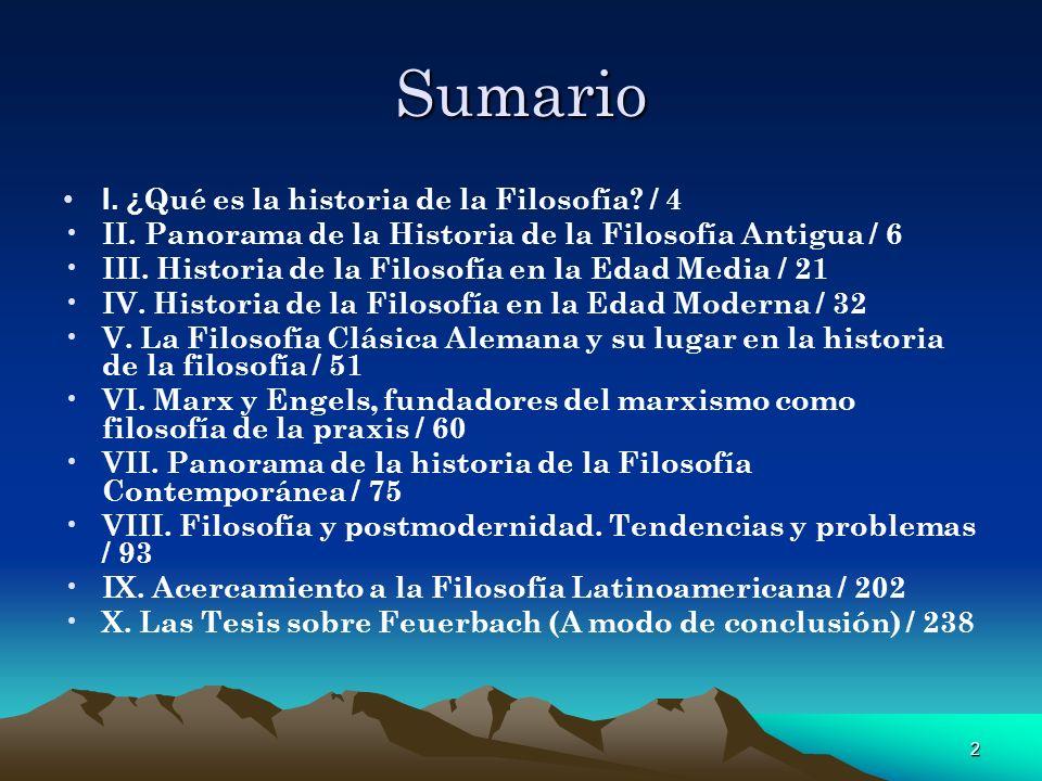 Sumario I. ¿Qué es la historia de la Filosofía / 4