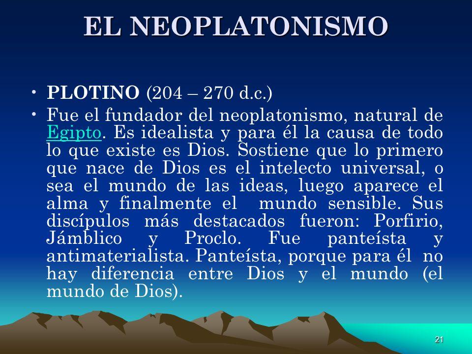 EL NEOPLATONISMO PLOTINO (204 – 270 d.c.)