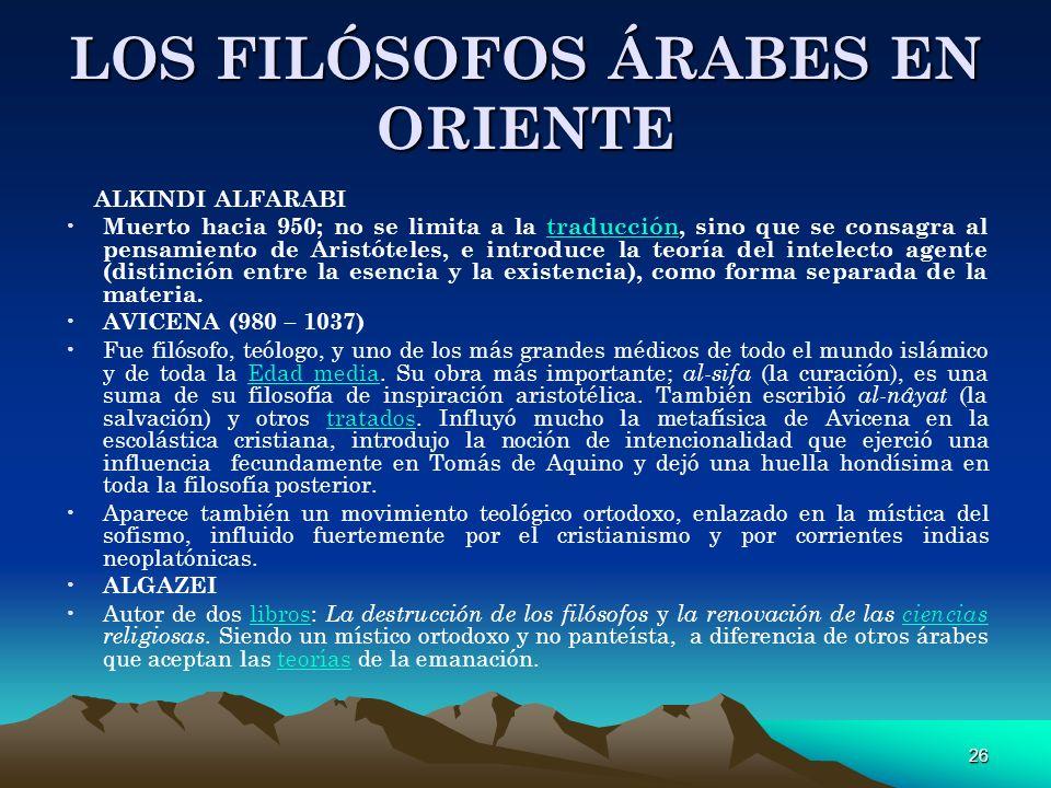 LOS FILÓSOFOS ÁRABES EN ORIENTE