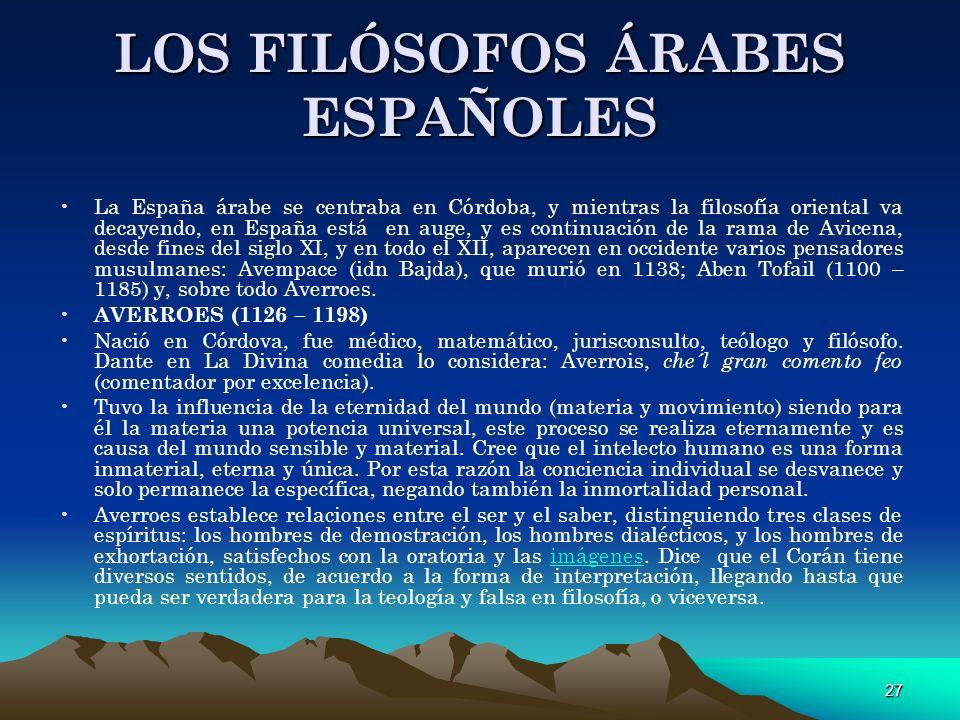 LOS FILÓSOFOS ÁRABES ESPAÑOLES
