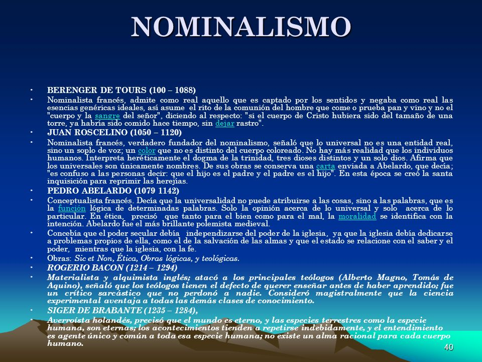 NOMINALISMO BERENGER DE TOURS (100 – 1088)