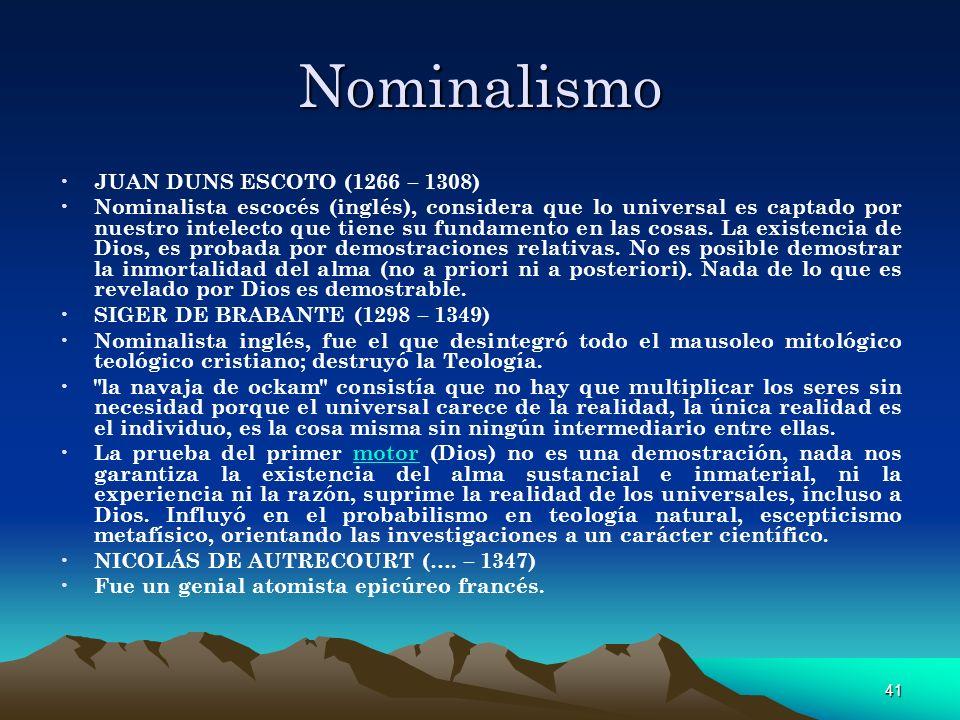 Nominalismo JUAN DUNS ESCOTO (1266 – 1308)