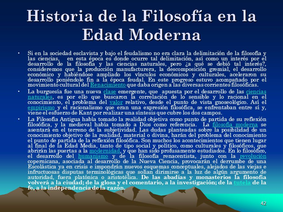 Historia de la Filosofía en la Edad Moderna