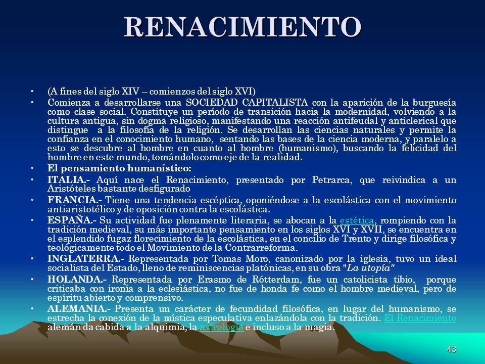RENACIMIENTO (A fines del siglo XIV – comienzos del siglo XVI)