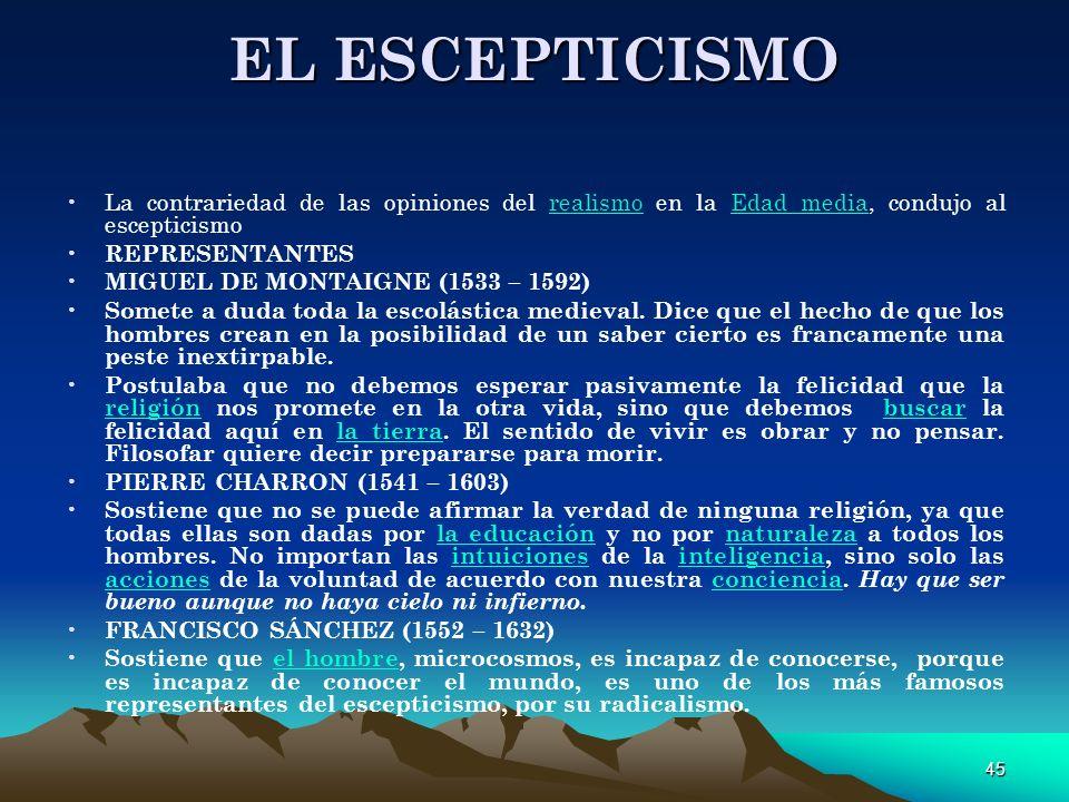 EL ESCEPTICISMO La contrariedad de las opiniones del realismo en la Edad media, condujo al escepticismo.