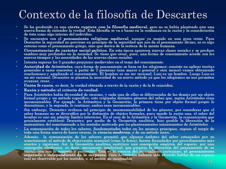 Contexto de la filosofía de Descartes