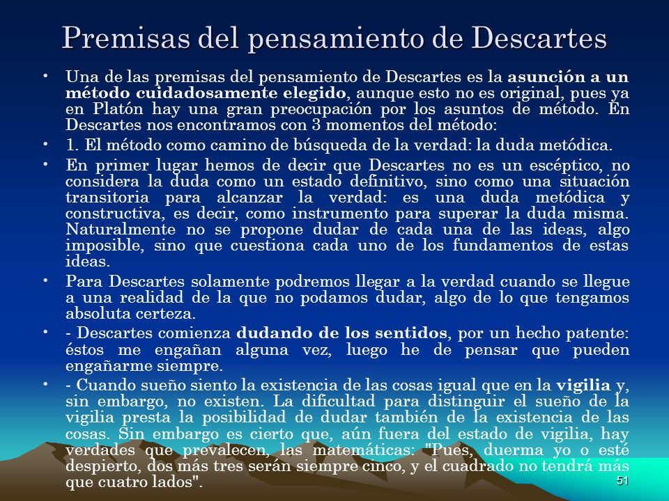 Premisas del pensamiento de Descartes