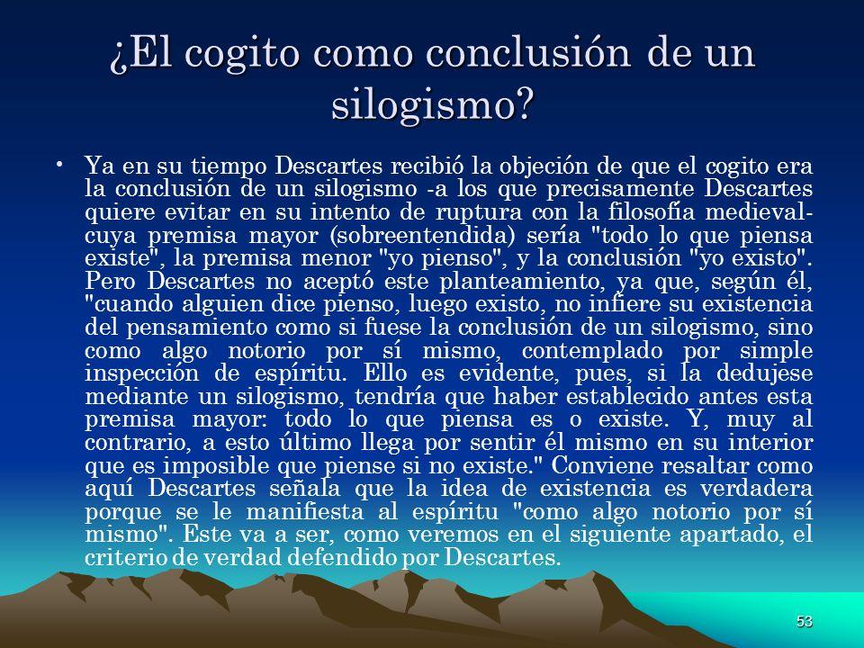 ¿El cogito como conclusión de un silogismo