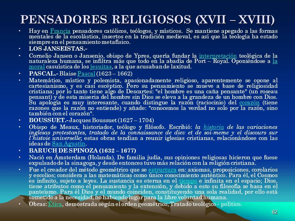 PENSADORES RELIGIOSOS (XVII – XVIII)