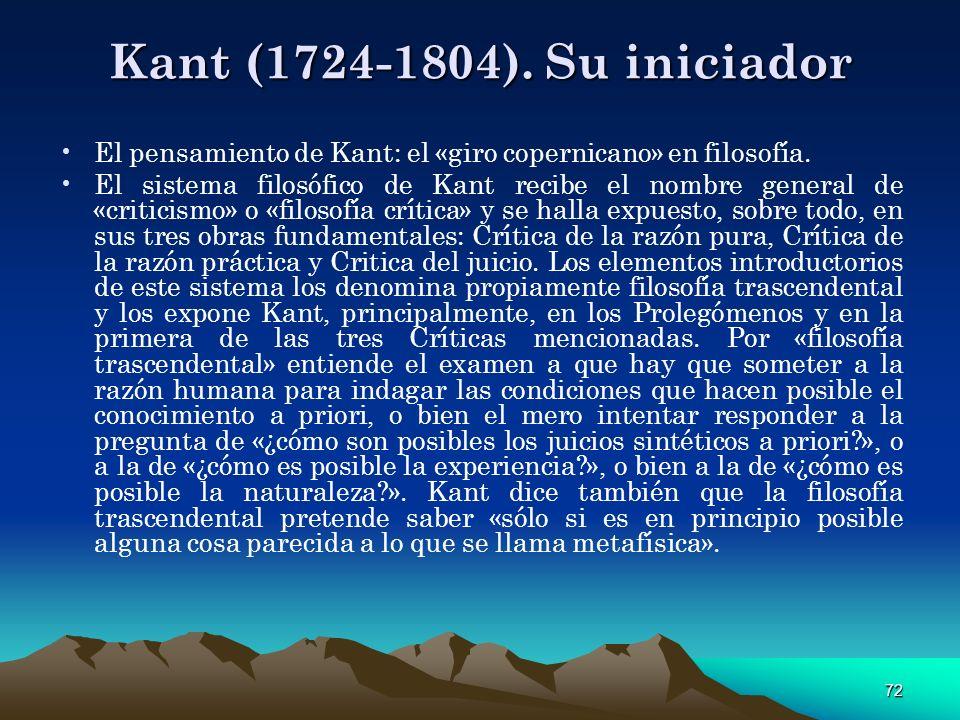 Kant (1724-1804). Su iniciador El pensamiento de Kant: el «giro copernicano» en filosofía.