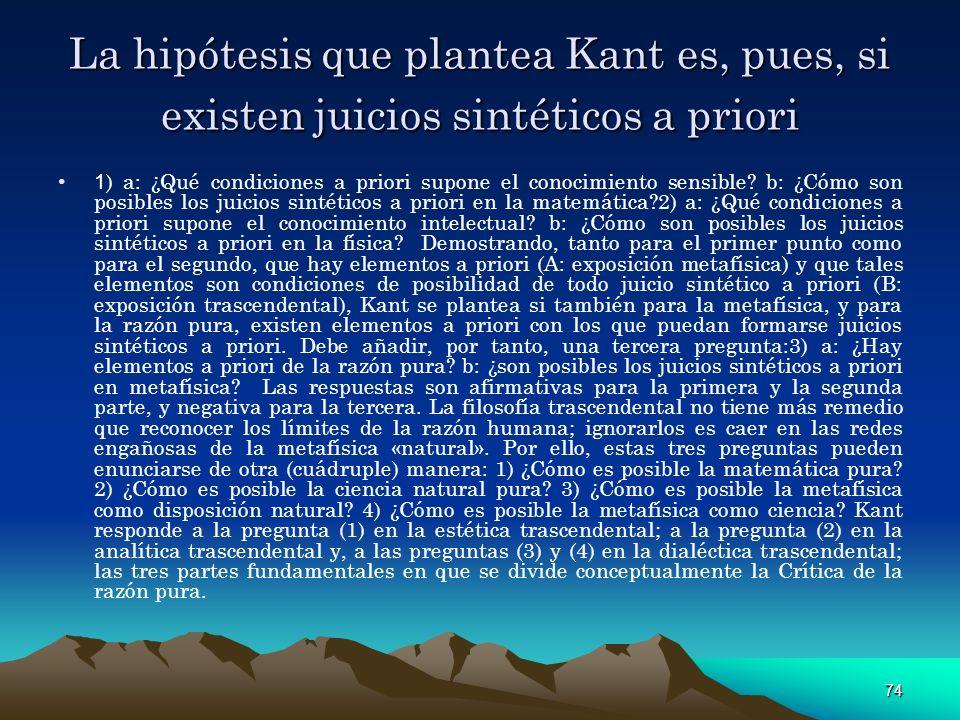 La hipótesis que plantea Kant es, pues, si existen juicios sintéticos a priori