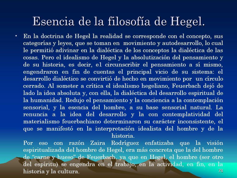 Esencia de la filosofía de Hegel.