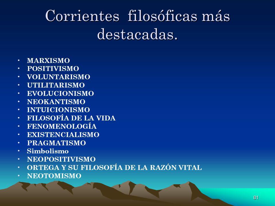 Corrientes filosóficas más destacadas.