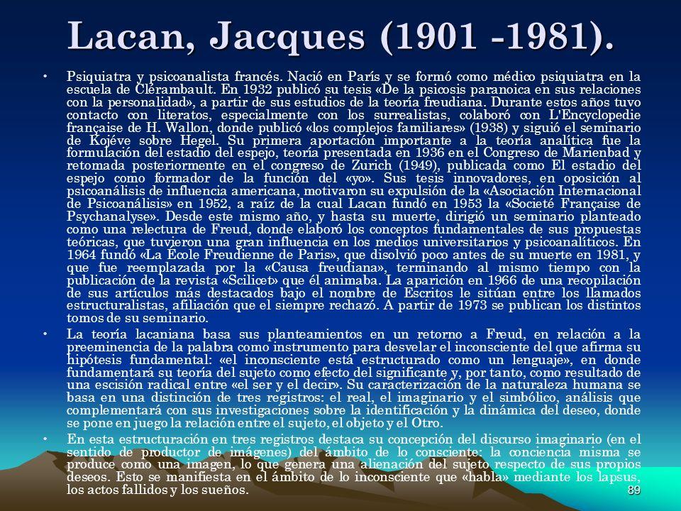 Lacan, Jacques (1901 -1981).