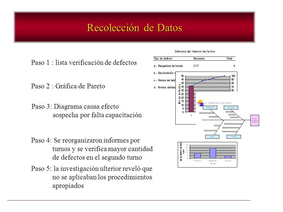 Recolección de Datos Paso 1 : lista verificación de defectos
