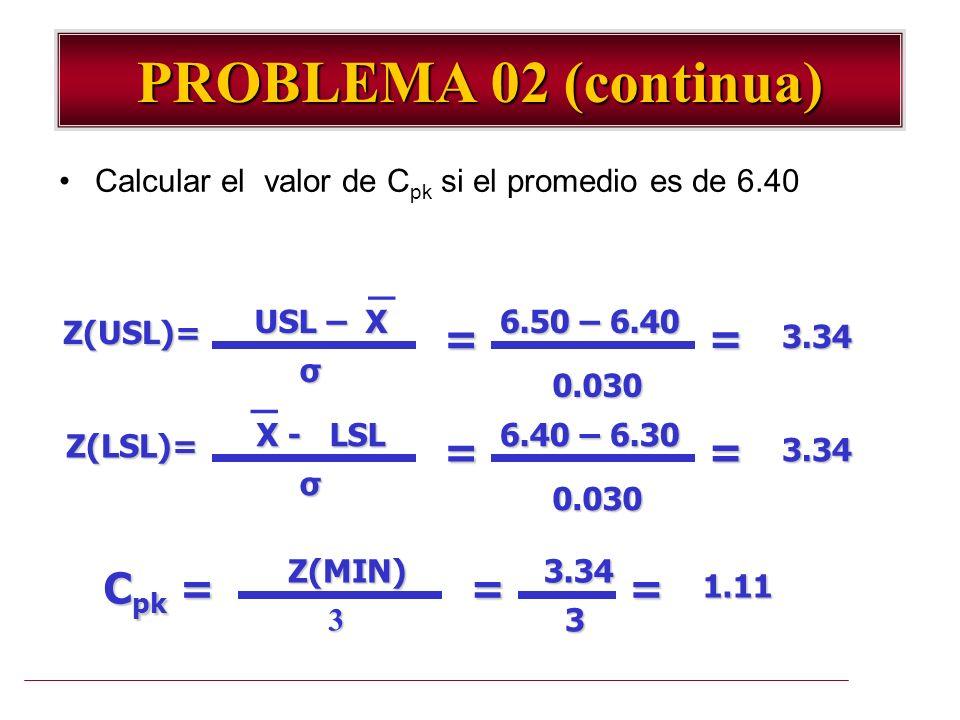 PROBLEMA 02 (continua) _ _ = = Cpk = = =