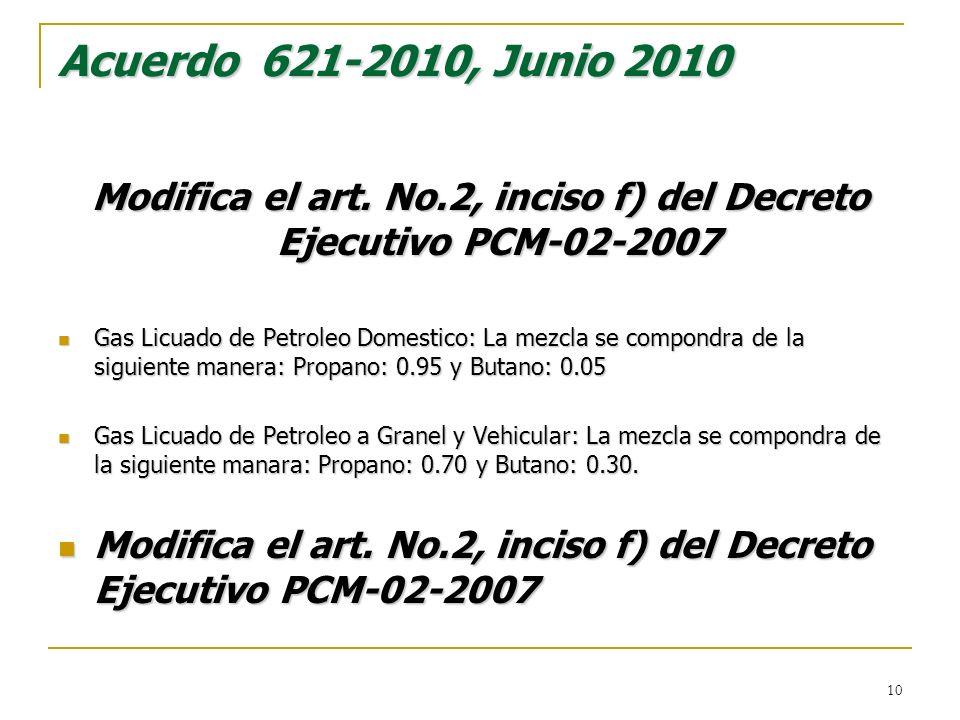 Modifica el art. No.2, inciso f) del Decreto Ejecutivo PCM-02-2007