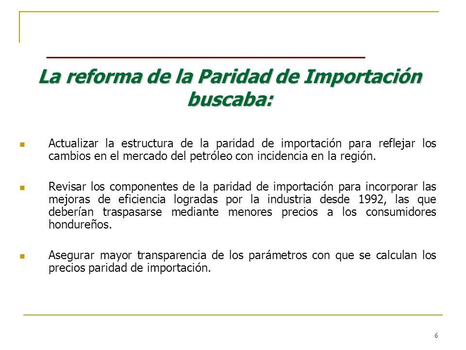 La reforma de la Paridad de Importación buscaba: