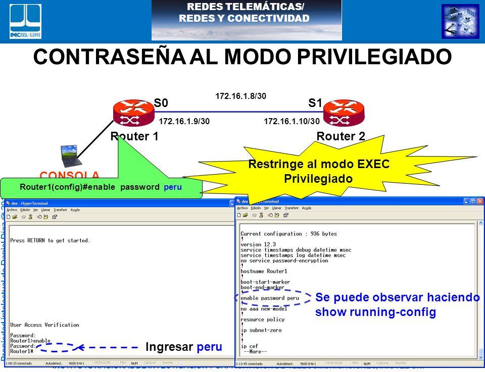 CONTRASEÑA AL MODO PRIVILEGIADO Router1(config)#enable password peru