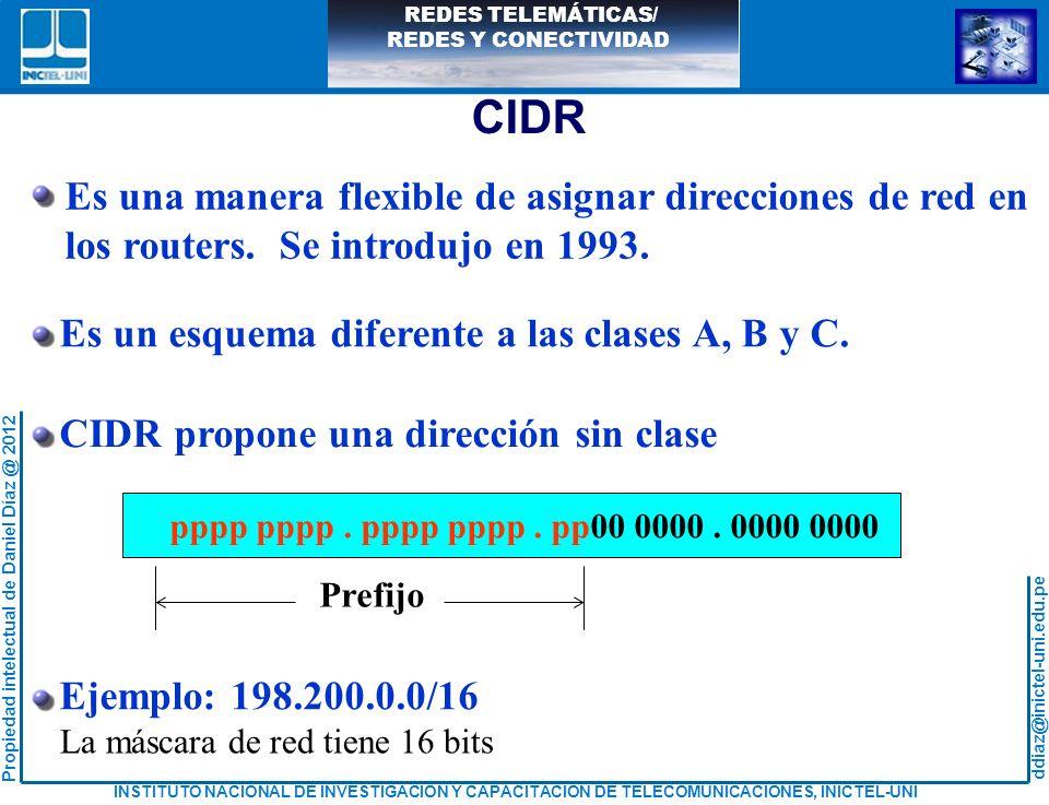 CIDR Es una manera flexible de asignar direcciones de red en los routers. Se introdujo en 1993. Es un esquema diferente a las clases A, B y C.