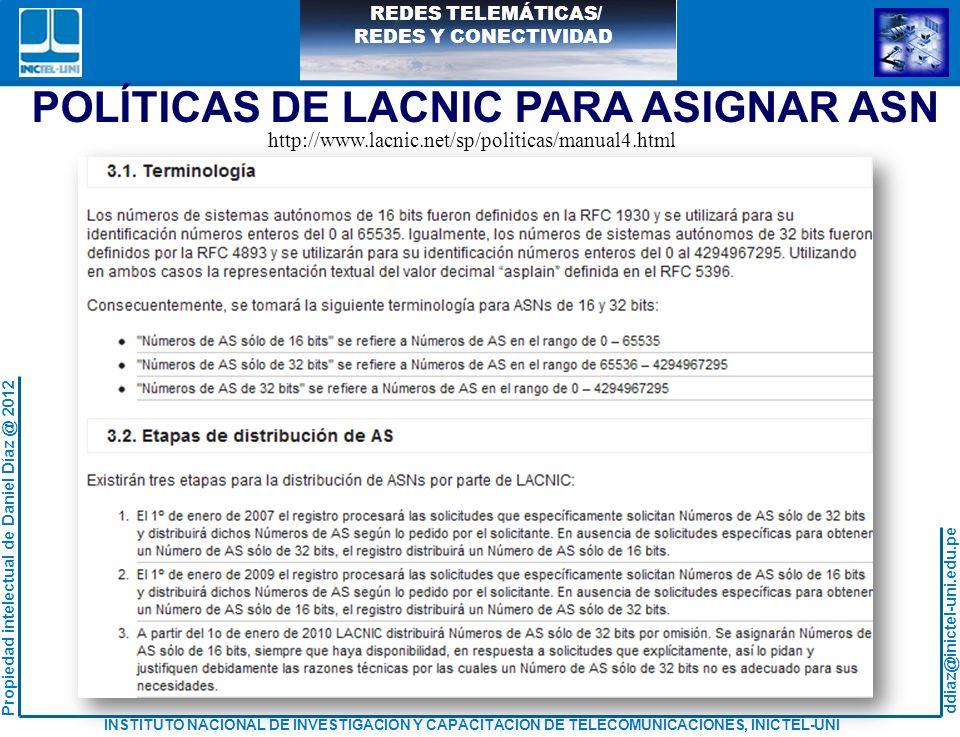 POLÍTICAS DE LACNIC PARA ASIGNAR ASN
