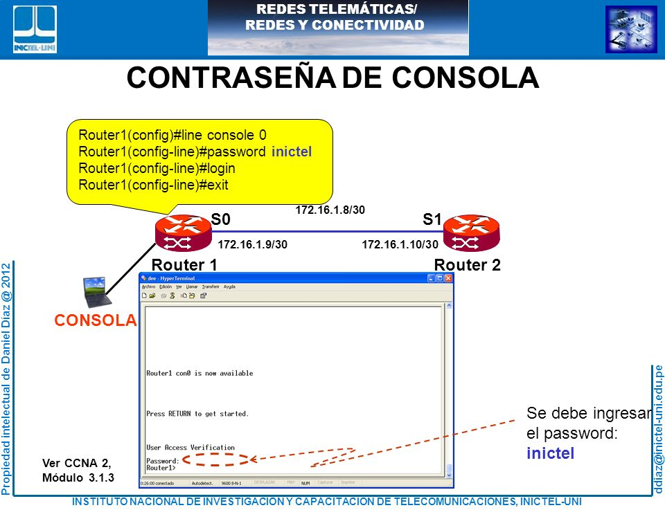 CONTRASEÑA DE CONSOLA S0 S1 CONSOLA Router 1 Router 2 Se debe ingresar