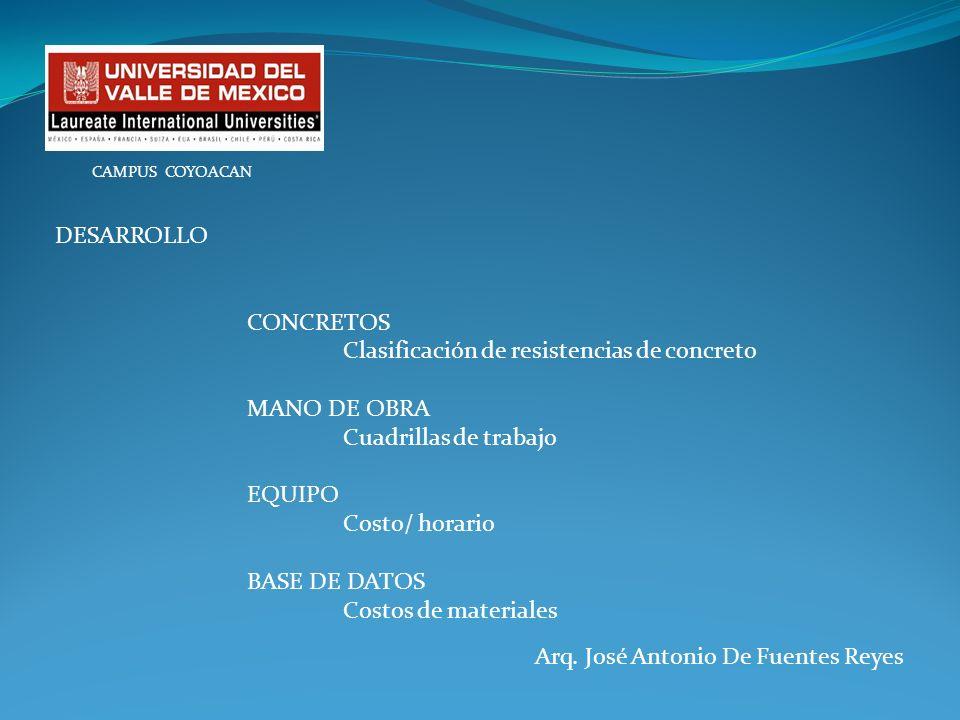 Clasificación de resistencias de concreto MANO DE OBRA
