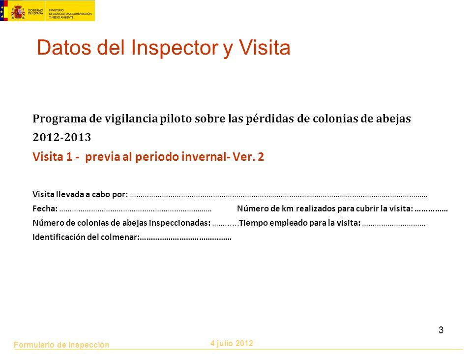 Datos del Inspector y Visita