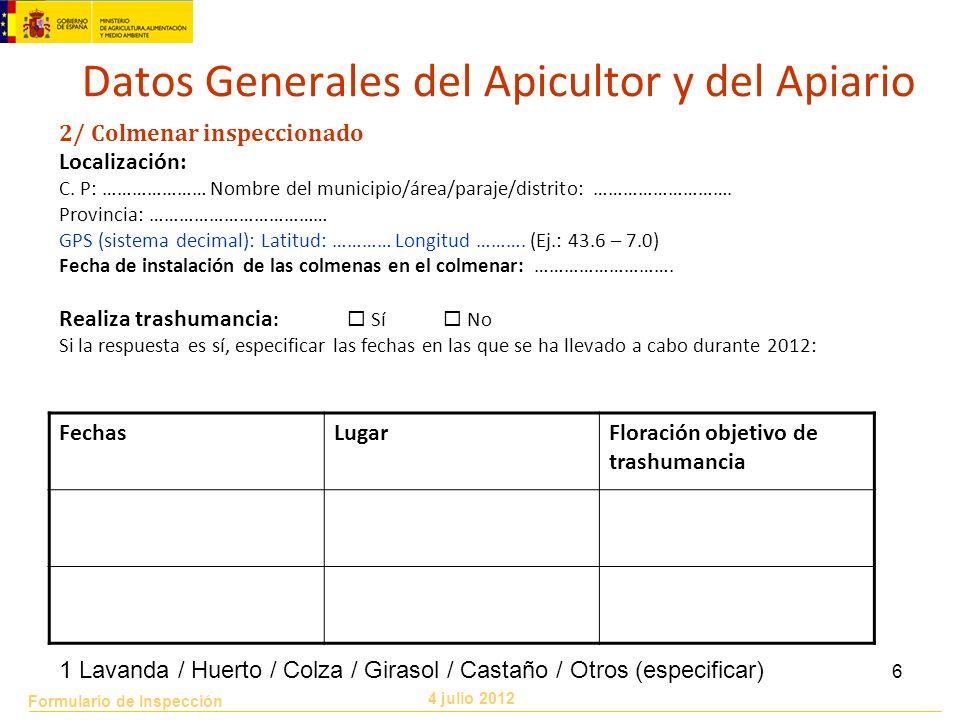Datos Generales del Apicultor y del Apiario