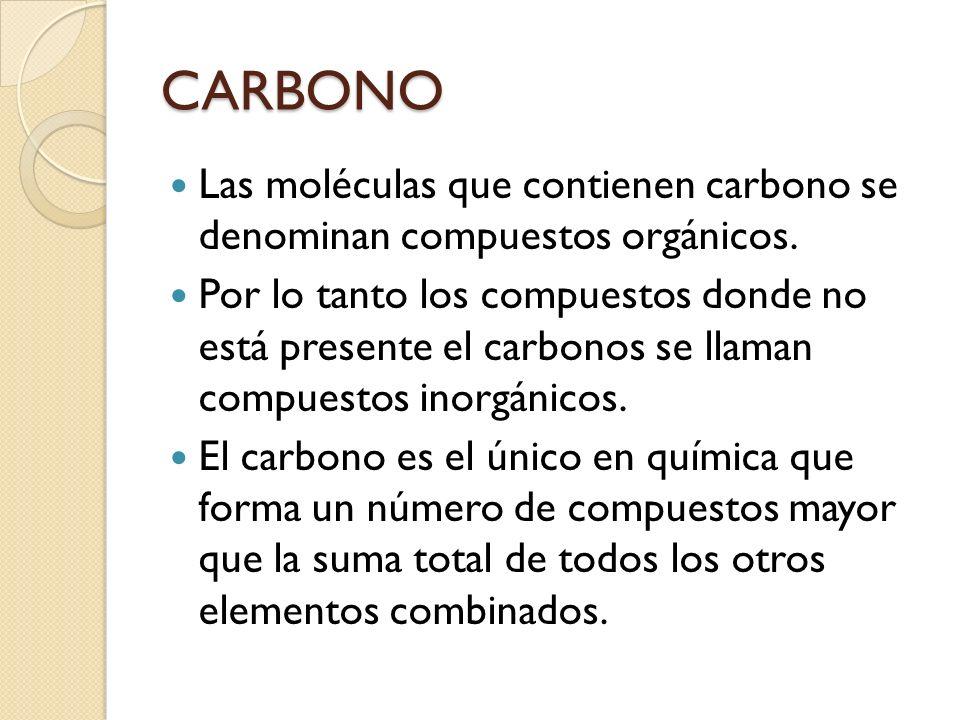 CARBONO Las moléculas que contienen carbono se denominan compuestos orgánicos.