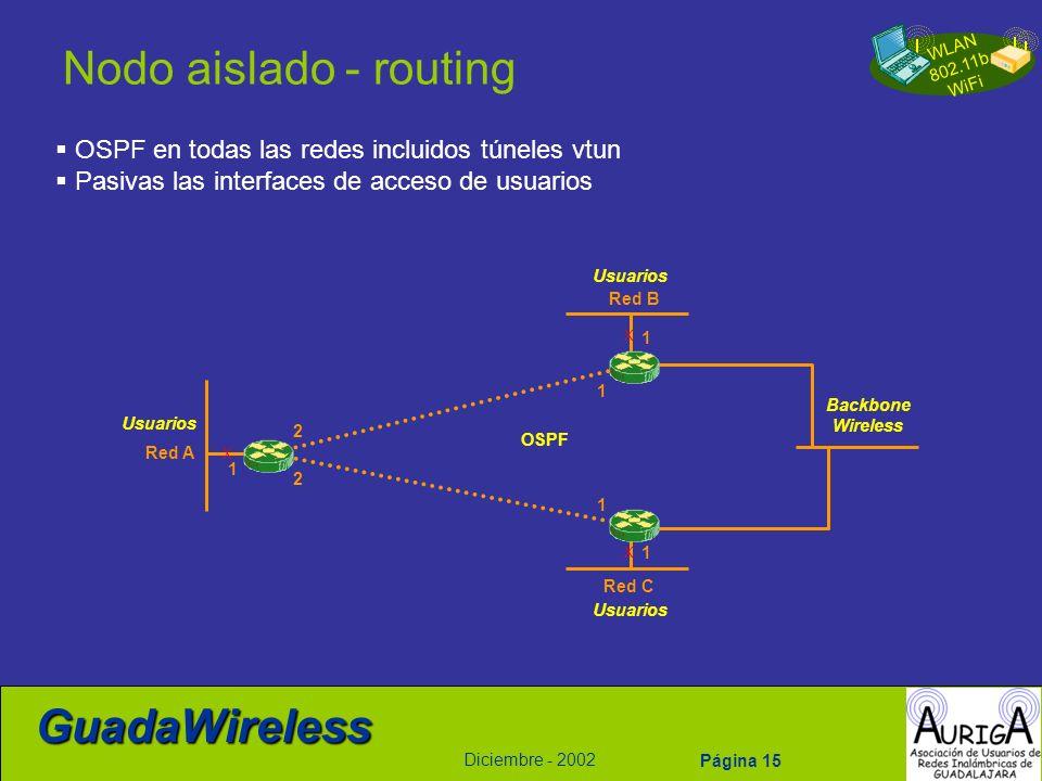 Nodo aislado - routing OSPF en todas las redes incluidos túneles vtun