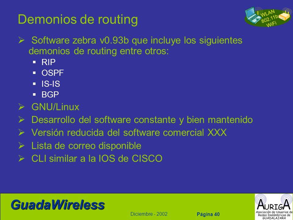 Demonios de routing Software zebra v0.93b que incluye los siguientes demonios de routing entre otros: