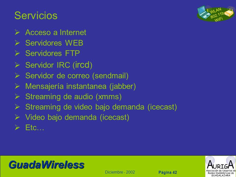 Servicios Acceso a Internet Servidores WEB Servidores FTP