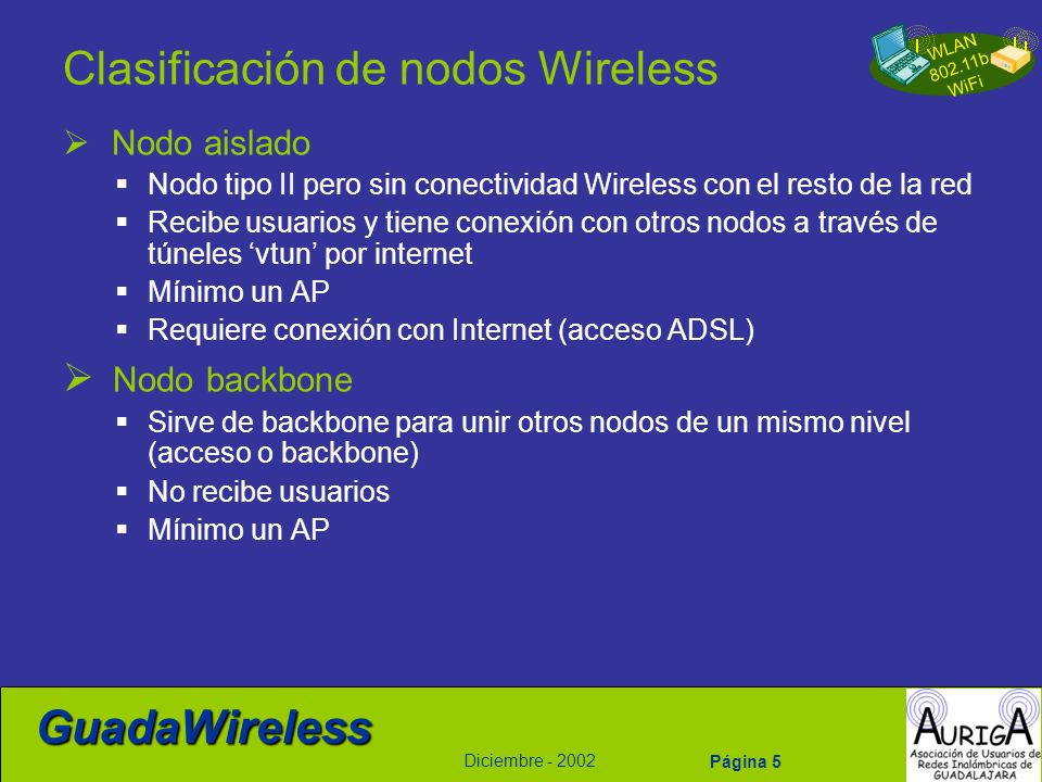 Clasificación de nodos Wireless