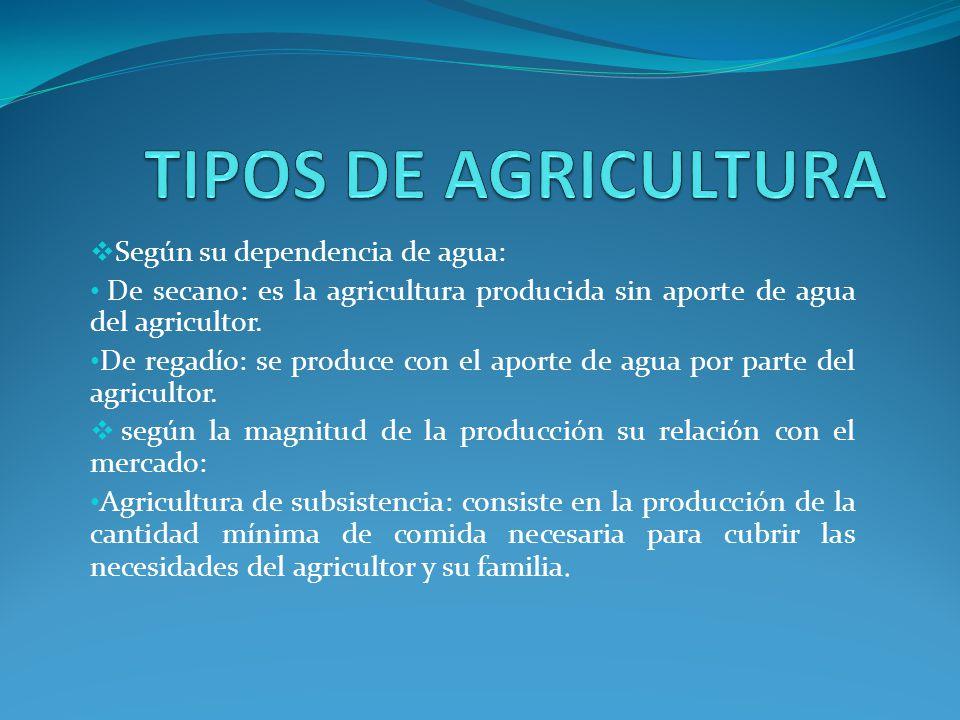 TIPOS DE AGRICULTURA Según su dependencia de agua: