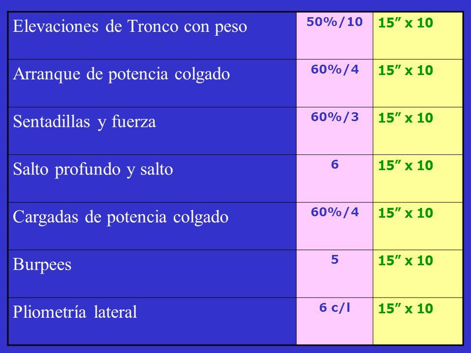 . Elevaciones de Tronco con peso Arranque de potencia colgado