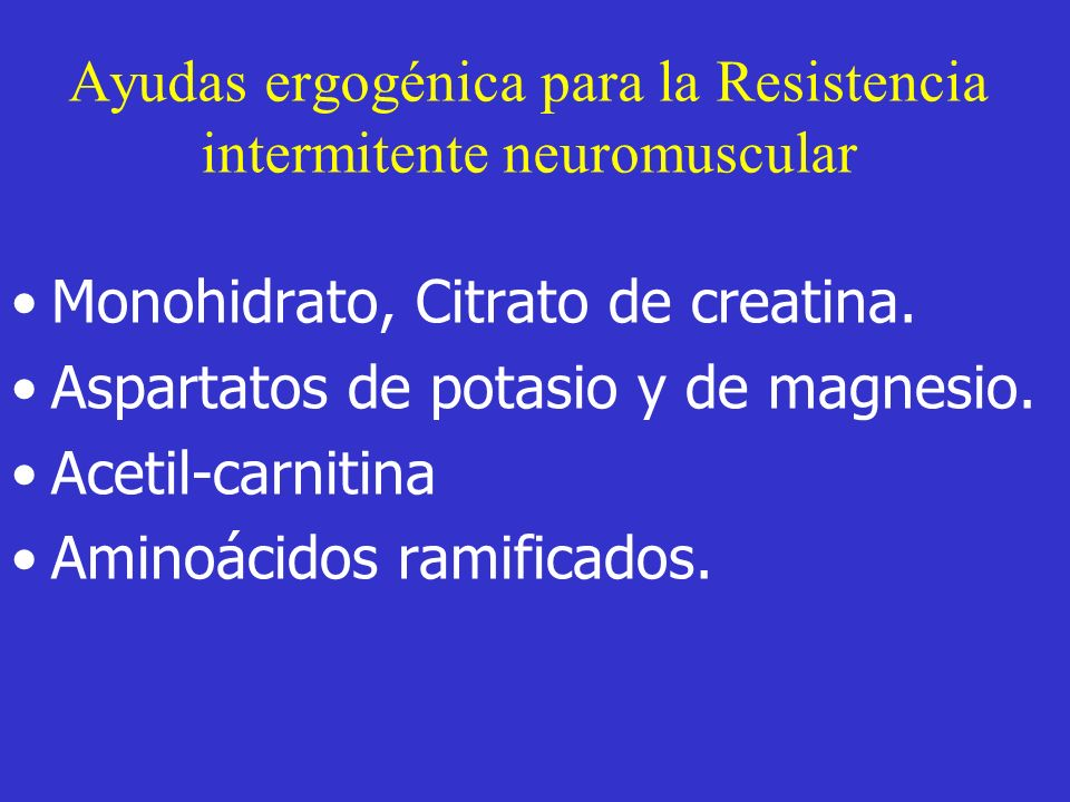 Ayudas ergogénica para la Resistencia intermitente neuromuscular