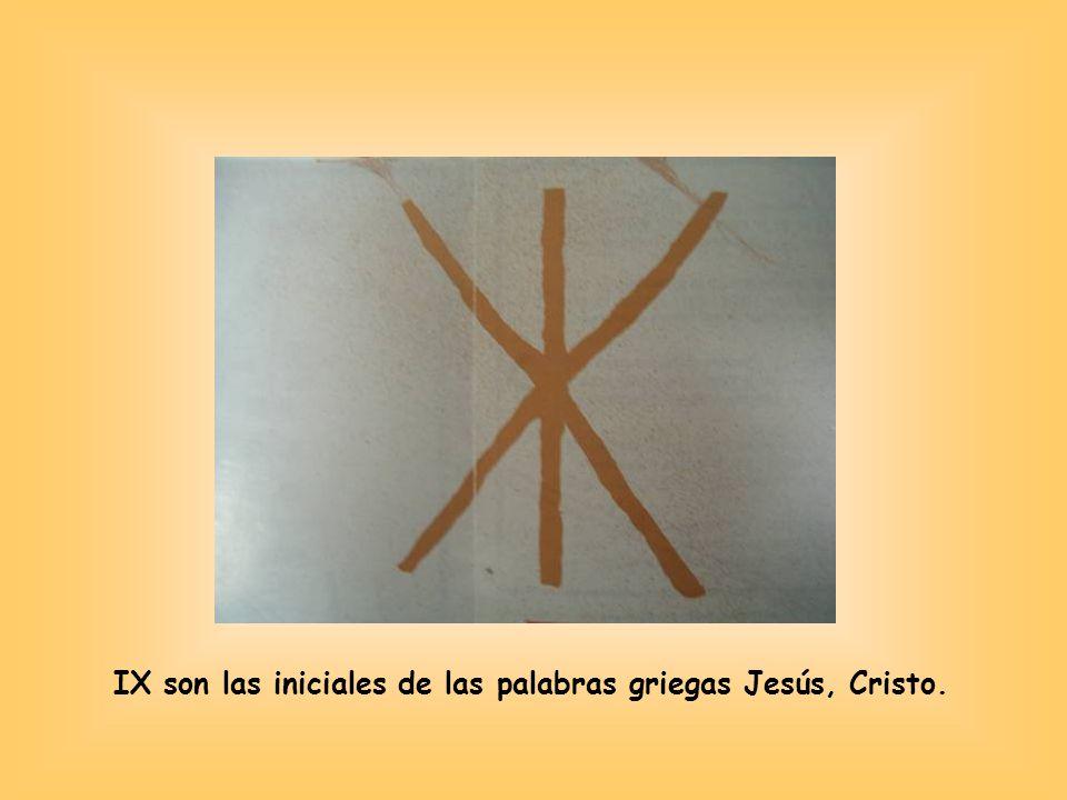 IX son las iniciales de las palabras griegas Jesús, Cristo.