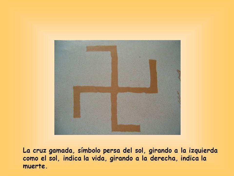 La cruz gamada, símbolo persa del sol, girando a la izquierda como el sol, indica la vida, girando a la derecha, indica la muerte.