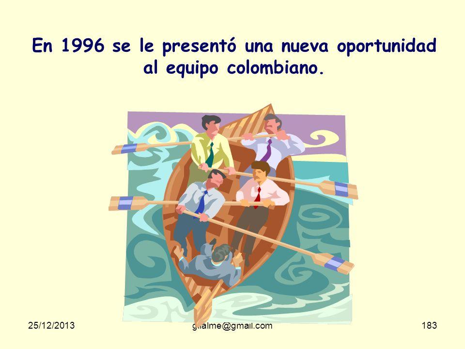 En 1996 se le presentó una nueva oportunidad al equipo colombiano.