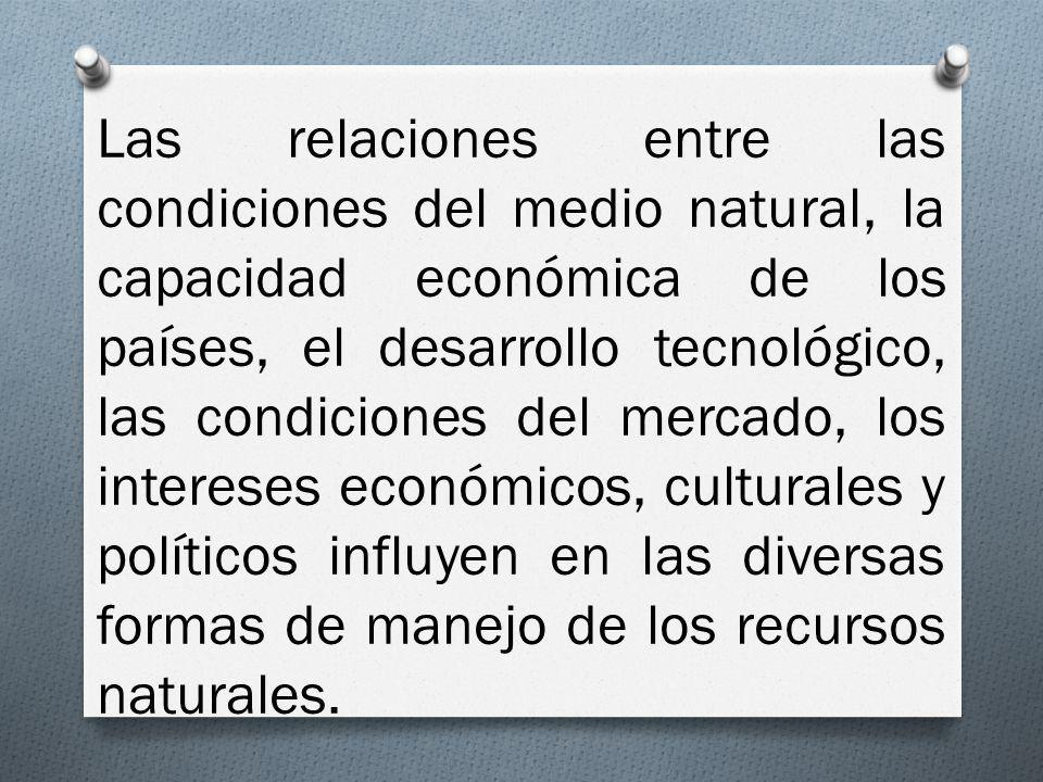 Las relaciones entre las condiciones del medio natural, la capacidad económica de los países, el desarrollo tecnológico, las condiciones del mercado, los intereses económicos, culturales y políticos influyen en las diversas formas de manejo de los recursos naturales.