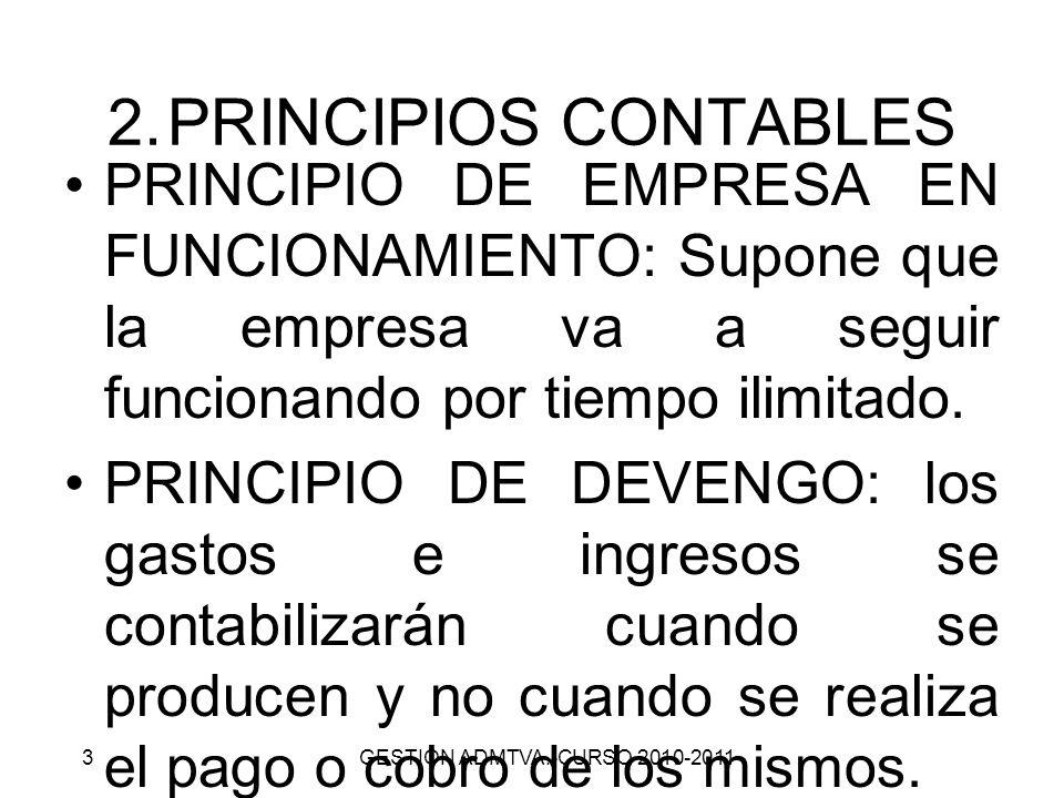 PRINCIPIOS CONTABLESPRINCIPIO DE EMPRESA EN FUNCIONAMIENTO: Supone que la empresa va a seguir funcionando por tiempo ilimitado.