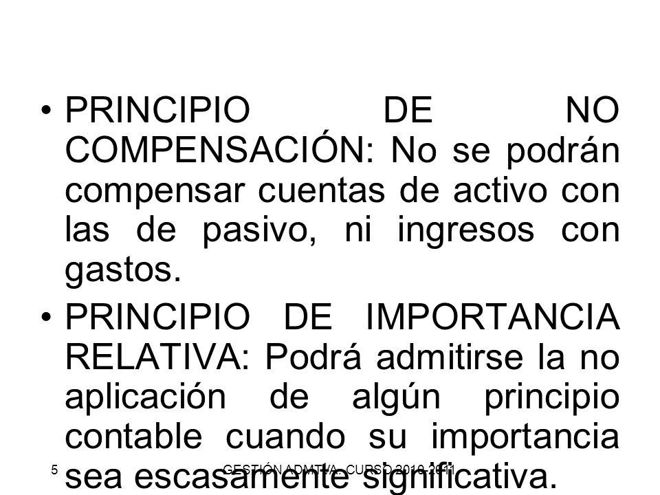 PRINCIPIO DE NO COMPENSACIÓN: No se podrán compensar cuentas de activo con las de pasivo, ni ingresos con gastos.