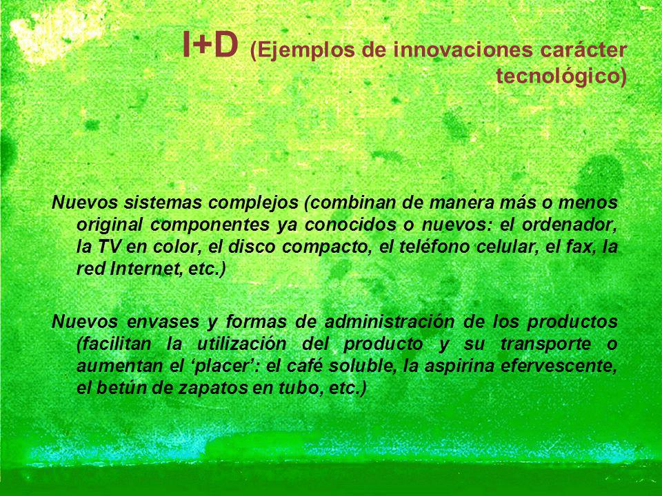 I+D (Ejemplos de innovaciones carácter tecnológico)